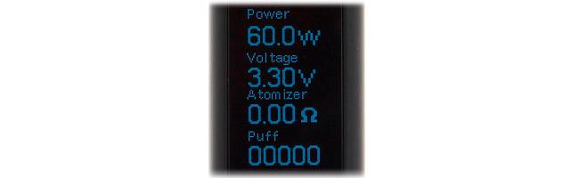 Ecran oled de la Box Mod eVic VTC Mini 60W par Joyetech