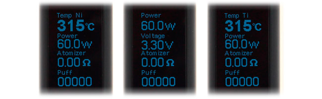 Les trois modes de la Box Mod eVic VTC Mini 60W par Joyetech