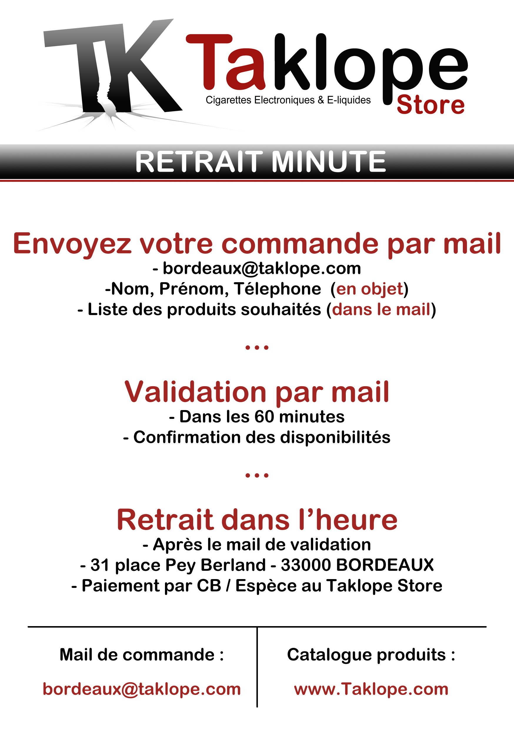 Retrait Minute Taklope Store Bordeaux